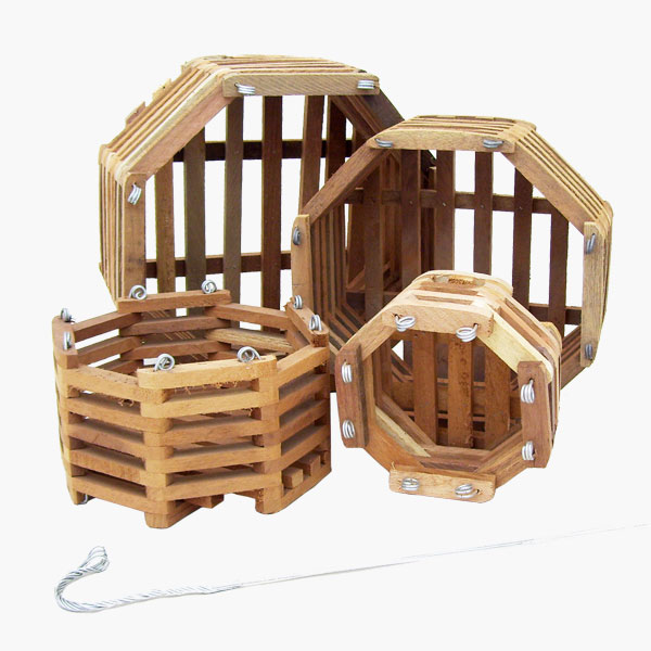 Orchid Wood Basket Octagon